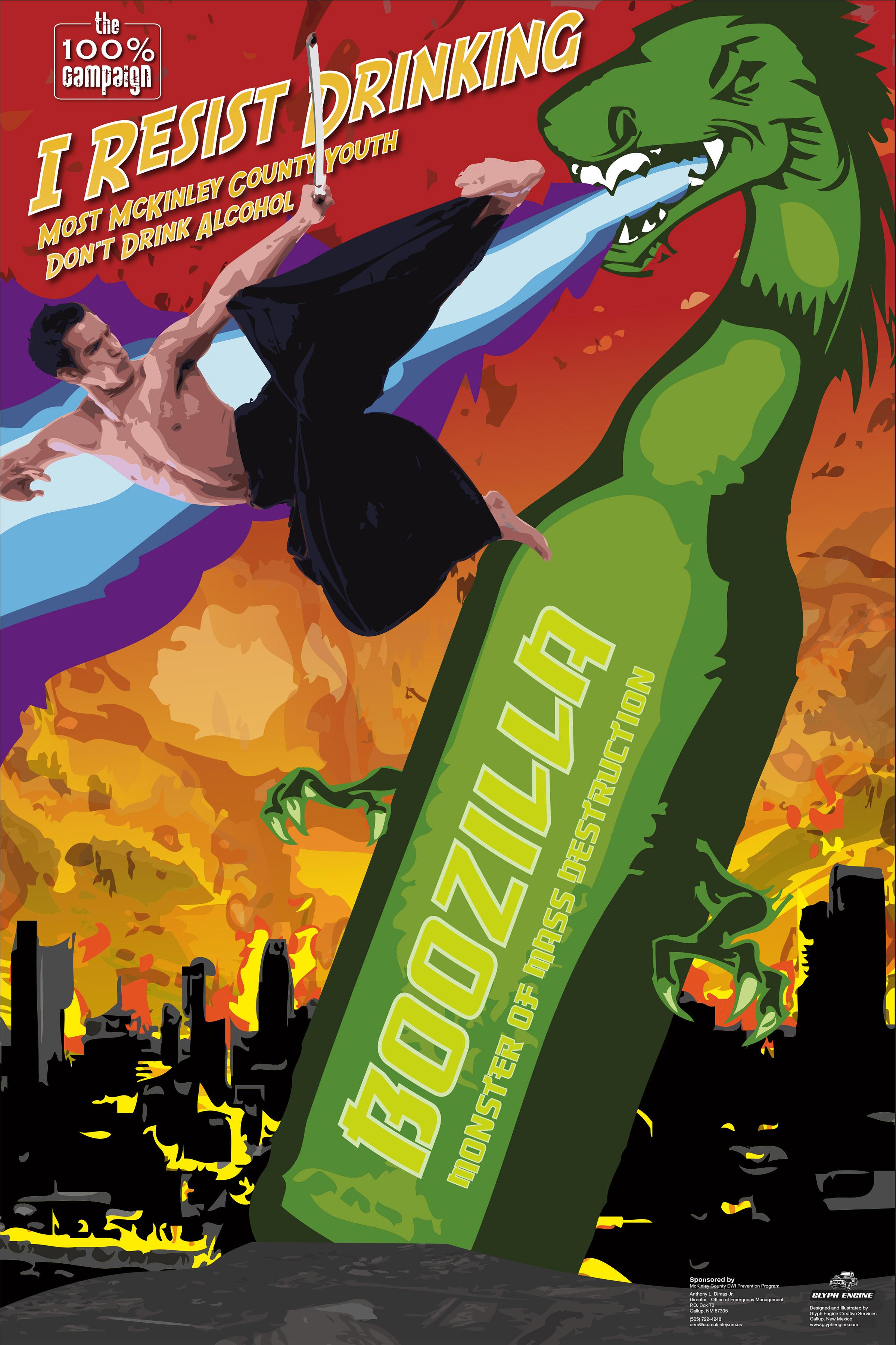 "Boozilla Poster 36"" x 48"""